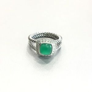 DAVID YURMAN ALBION 7MM GREEN ONYX  DIAMOND RING